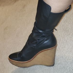 YSL leather tie up calf high wedge boots EUC